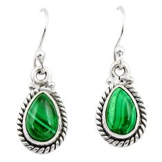 4.85cts natural green malachite (pilot's stone) silver dangle earrings r26709