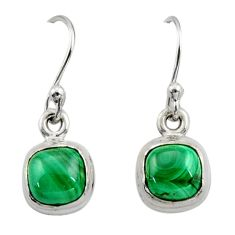 4.54cts natural green malachite (pilot's stone) silver dangle earrings r26710