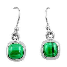 4.30cts natural green malachite (pilot's stone) silver dangle earrings r26731