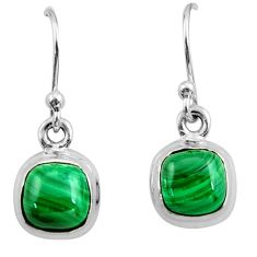 4.54cts natural green malachite (pilot's stone) silver dangle earrings r26732