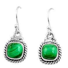 4.85cts natural green malachite (pilot's stone) silver dangle earrings r26734