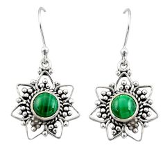 2.78cts natural green malachite (pilot's stone) silver dangle earrings r31163