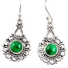 2.78cts natural green malachite (pilot's stone) silver dangle earrings r31228