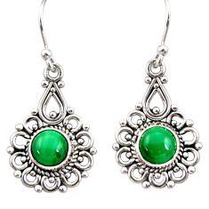 2.95cts natural green malachite (pilot's stone) silver dangle earrings r31233