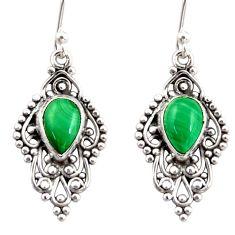 4.67cts natural green malachite (pilot's stone) silver dangle earrings r31247