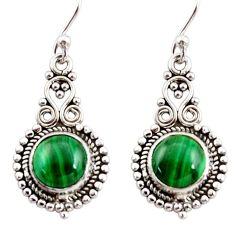 6.85cts natural green malachite (pilot's stone) silver dangle earrings r31279