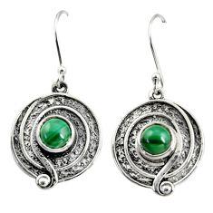 2.46cts natural green malachite (pilot's stone) silver dangle earrings r35152