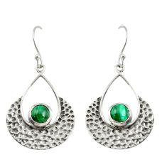 1.96cts natural green malachite (pilot's stone) silver dangle earrings r39093