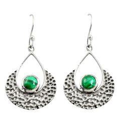 2.01cts natural green malachite (pilot's stone) silver dangle earrings r39094