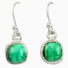 4.99cts natural green malachite (pilot's stone) silver dangle earrings r41087
