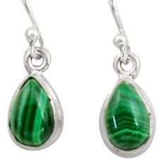 5.02cts natural green malachite (pilot's stone) silver dangle earrings r41090
