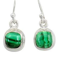 4.64cts natural green malachite (pilot's stone) silver dangle earrings r41092