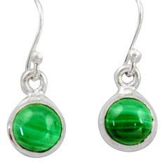 4.30cts natural green malachite (pilot's stone) silver dangle earrings r41095