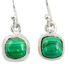 4.71cts natural green malachite (pilot's stone) silver dangle earrings r41097