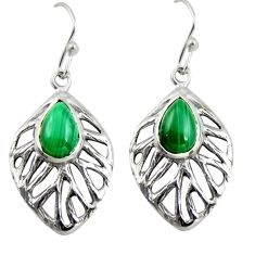 4.93cts natural green malachite (pilot's stone) silver leaf earrings r39181
