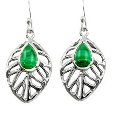 4.93cts natural green malachite (pilot's stone) silver leaf earrings r39183