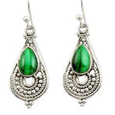 4.13cts natural green malachite pilot's stone 925 silver dangle earrings r42383
