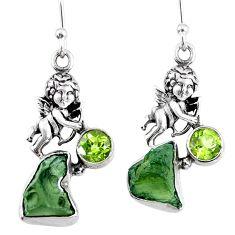 9.47cts natural green moldavite (genuine czech) 925 silver angel earrings r57261