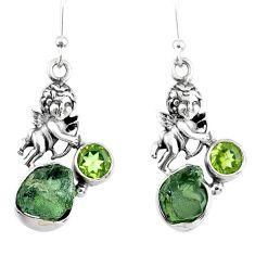 8.80cts natural green moldavite (genuine czech) 925 silver angel earrings r57266