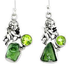 9.47cts natural green moldavite (genuine czech) 925 silver angel earrings r57267