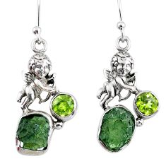 8.80cts natural green moldavite (genuine czech) 925 silver angel earrings r57269