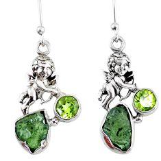 8.69cts natural green moldavite (genuine czech) 925 silver angel earrings r57270