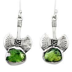 9.06cts natural green moldavite (genuine czech) 925 silver earrings r29533