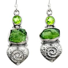 10.99cts natural green moldavite (genuine czech) 925 silver earrings r29536