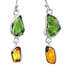14.72cts natural green moldavite (genuine czech) 925 silver earrings r29537