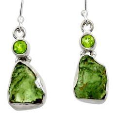 9.39cts natural green moldavite (genuine czech) 925 silver earrings r29539