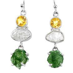 17.57cts natural green moldavite (genuine czech) 925 silver earrings r56942