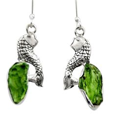 9.96cts natural green moldavite (genuine czech) 925 silver fish earrings r29531