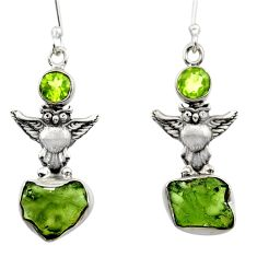 8.78cts natural green moldavite (genuine czech) 925 silver owl earrings r29528