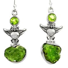 11.66cts natural green moldavite (genuine czech) 925 silver owl earrings r29529