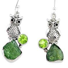 10.41cts natural green moldavite (genuine czech) 925 silver owl earrings r57336