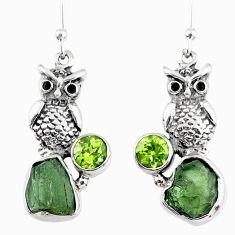 9.56cts natural green moldavite (genuine czech) 925 silver owl earrings r57339