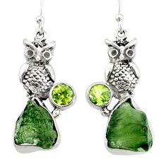 11.89cts natural green moldavite (genuine czech) 925 silver owl earrings r71981