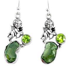 10.13cts natural green moldavite (genuine czech) silver angel earrings r57263