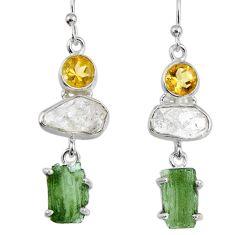 16.15cts natural green moldavite (genuine czech) silver dangle earrings r56941