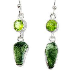12.05cts natural green moldavite (genuine czech) silver dangle earrings r56958