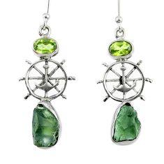 6.97cts natural green moldavite (genuine czech) silver dangle earrings r57276