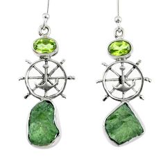 7.25cts natural green moldavite (genuine czech) silver dangle earrings r57278