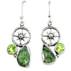8.49cts natural green moldavite (genuine czech) silver dangle earrings r57312