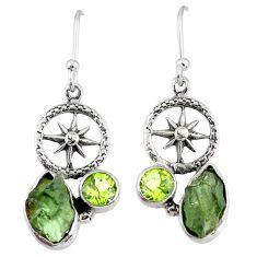 7.66cts natural green moldavite (genuine czech) silver dangle earrings r57316