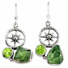 9.99cts natural green moldavite (genuine czech) silver dangle earrings r57319
