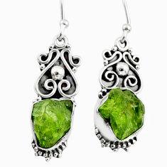 8.33cts natural green raw peridot crystal silver dangle earrings r65941