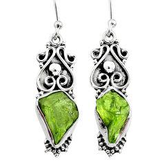 8.85cts natural green raw peridot crystal silver dangle earrings r65944