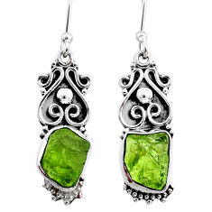 8.99cts natural green raw peridot crystal silver dangle earrings r65946