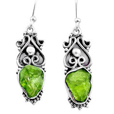 8.47cts natural green raw peridot crystal silver dangle earrings r65949