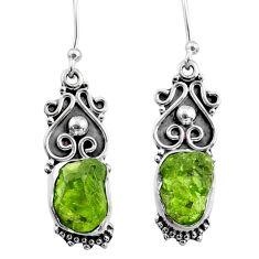 9.06cts natural green raw peridot crystal silver dangle earrings r65951
